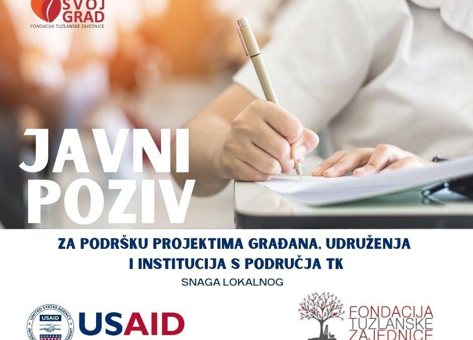 """Fondacija tuzlanske zajednice: Fond """"Volim Svoj Grad"""" – Javni poziv za podršku građanskim projektima i inicijativama"""